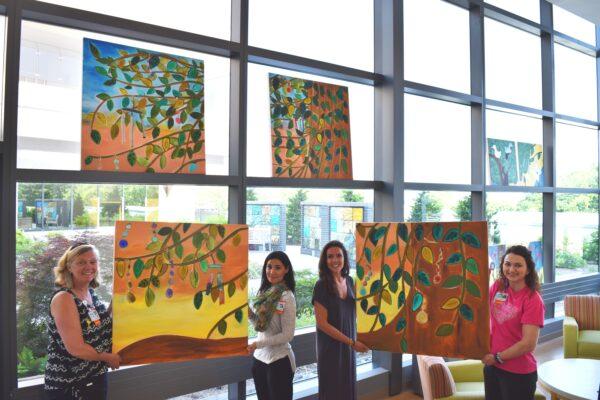 PICU Nurse Manager Ruthann Turner, Art Therapist Lindsay Lederman, Visiting Artist Catherine Czerwinski, Child Life Specialist Allison Haughey