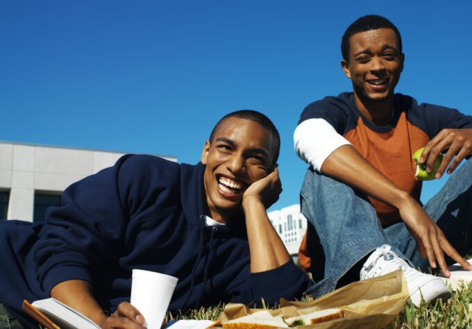 young men showcasing healthy eating in college